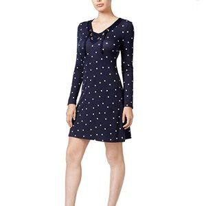 KENSIE Navy Polka Dot Long Sleeve Dress